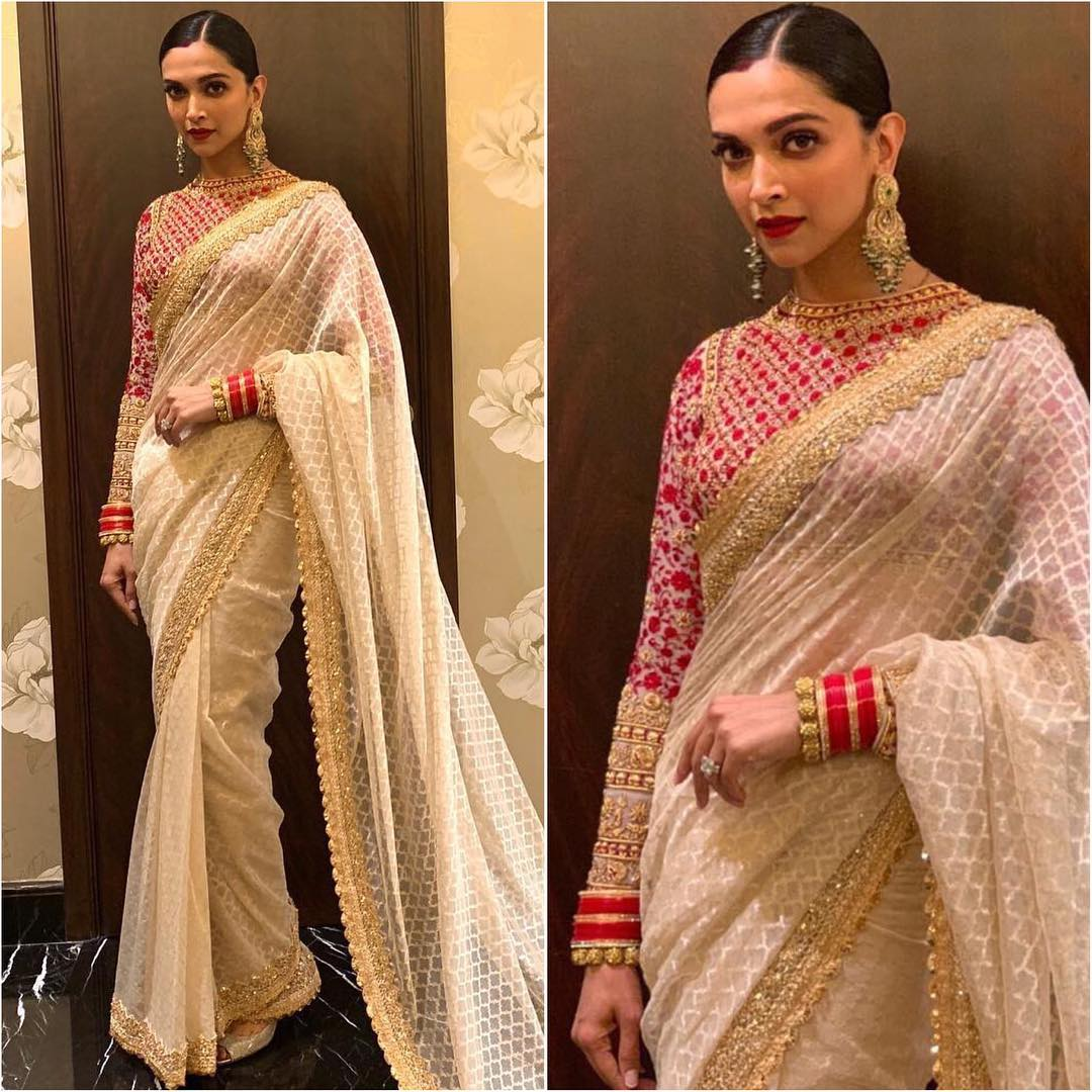 Deepika Padukone in white and gold saree: Hot n Sizzling Designer Sarees from Bollywood Celebs