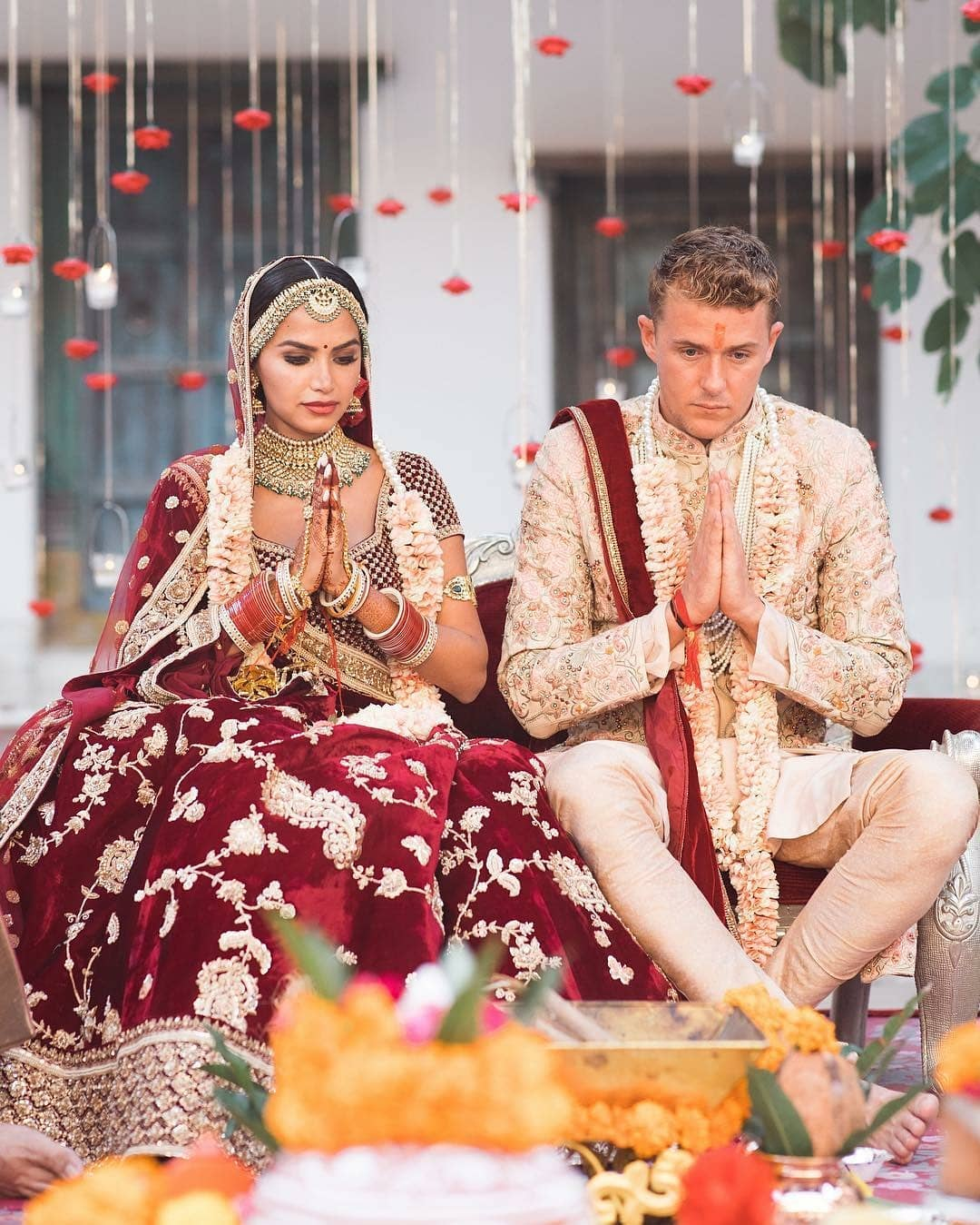 Rich wine and ivory combination: Bride and Groom Wedding Dress Colour Combinations