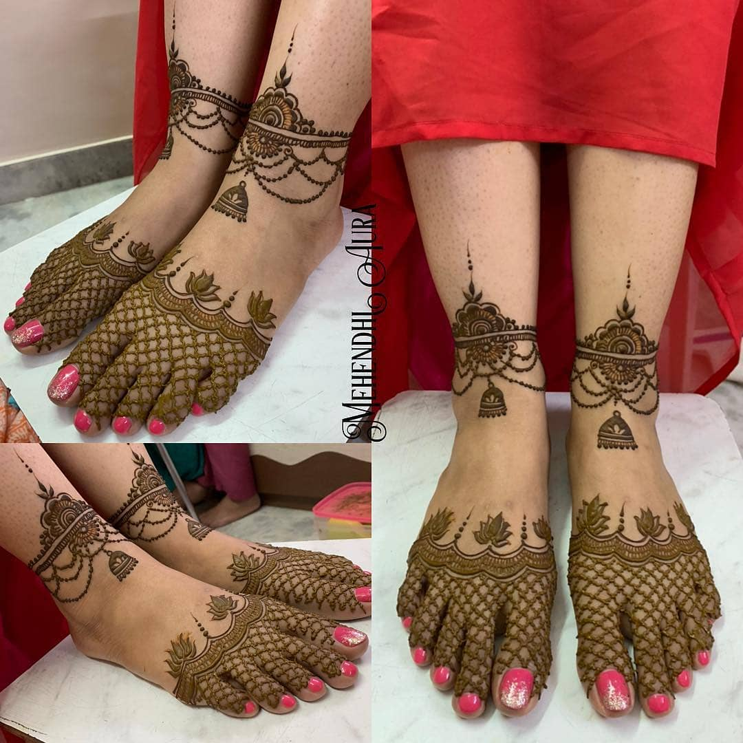 Grids and lotus: Modern Henna Mehndi Designs For Legs