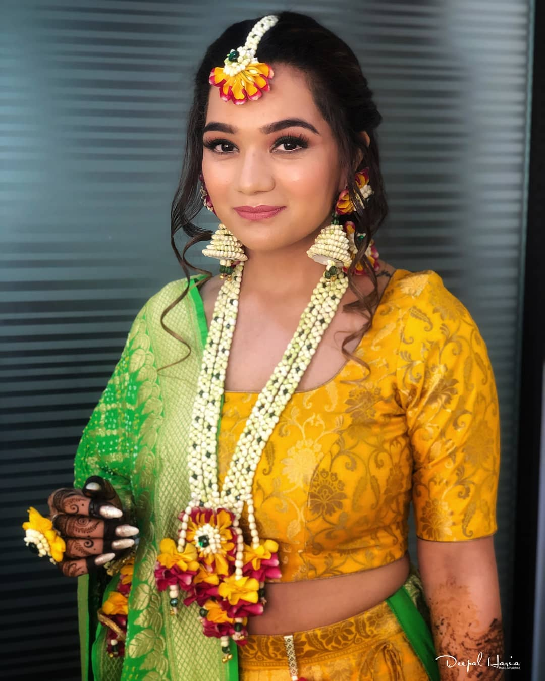 Fiery Yellow floral jewellery:  Haldi Ceremony Floral Jewellery for Your Wedding