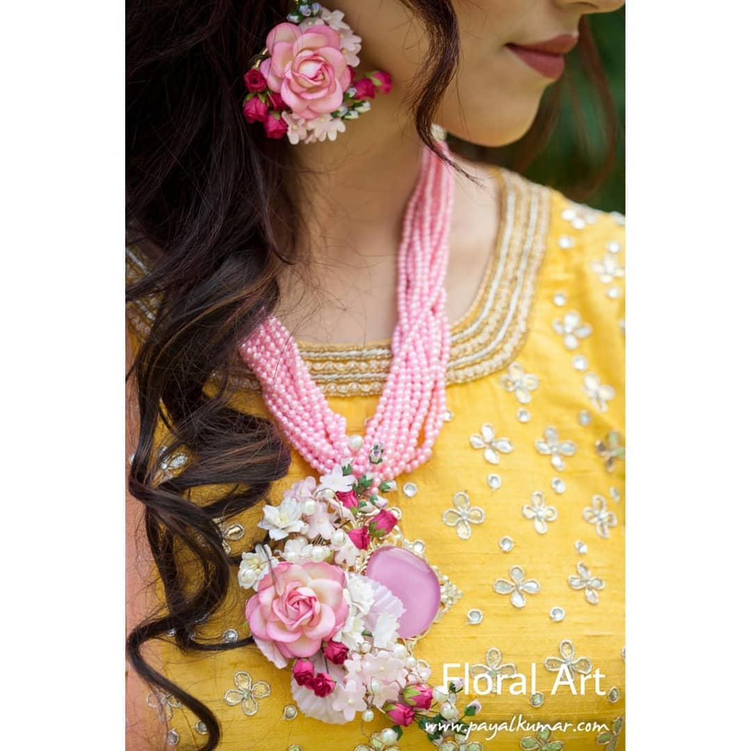 Flower and pearl jewellery:  Haldi Ceremony Floral Jewellery for Your Wedding