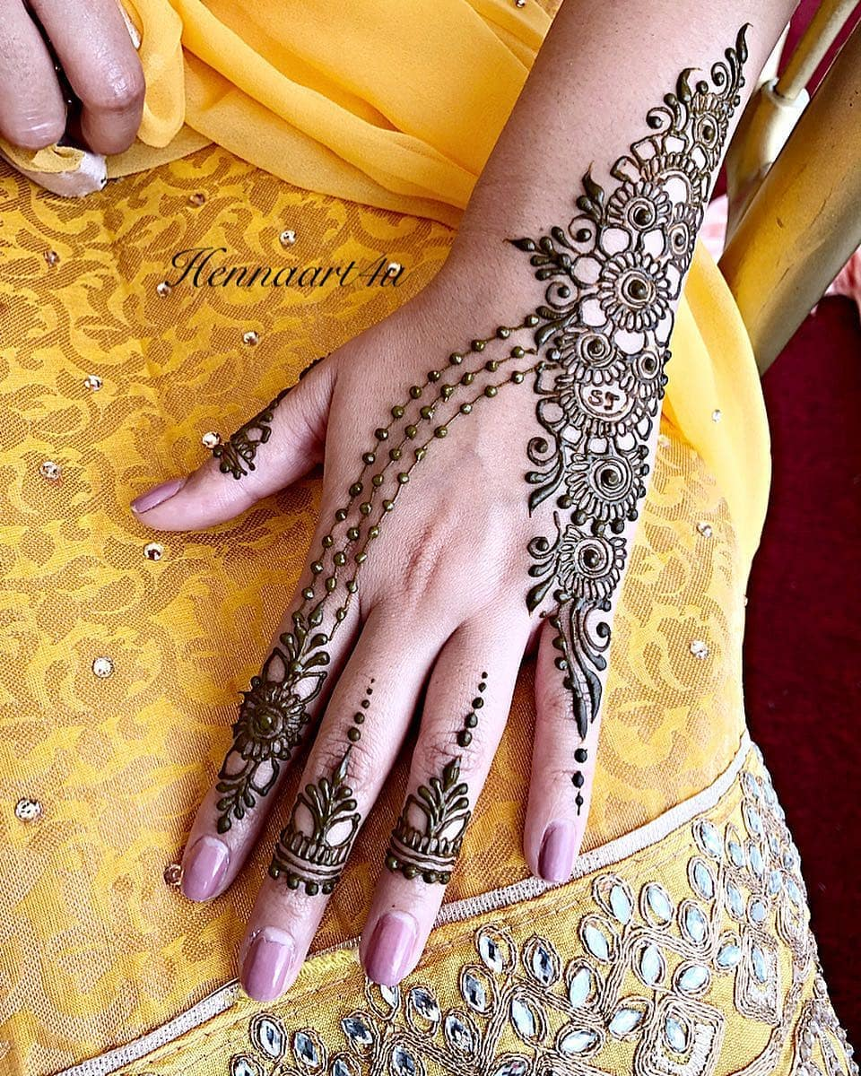 Flowers and beads: Beautiful & Simple Mehndi Designs for Hand