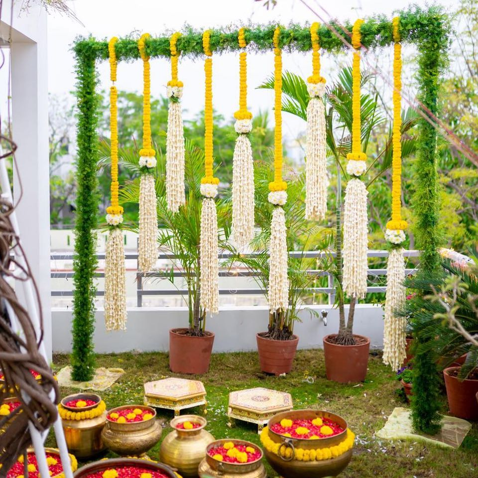 Green and Yellow mandap design Simple & Stylish Decoration Ideas for Haldi Function