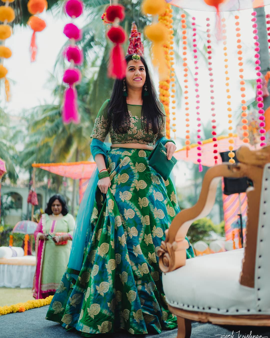 Green and blue lehenga design:Light Lehenga Designs for Bride & Bridesmaid