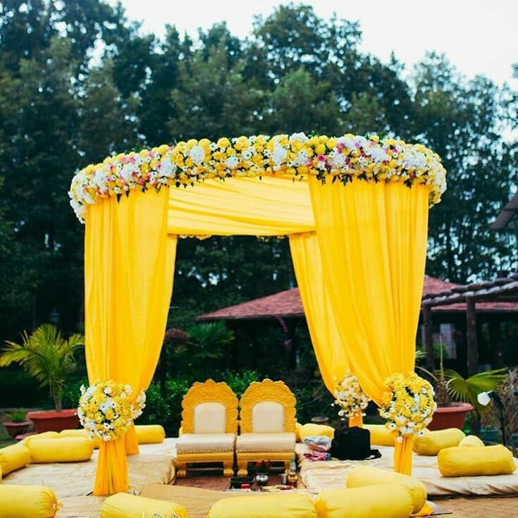 Floating mandap design Decoration Ideas for Haldi Function  Simple & Stylish Decoration Ideas for Haldi Function