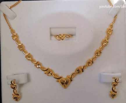 Heart-shaped necklace Latest Gold Chain Designs Under 20 Grams Weight