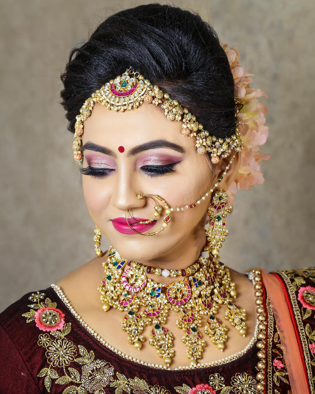 Sparkly smoky eyes makeup look: Indian Bridal Makeup Look in Celeb Style