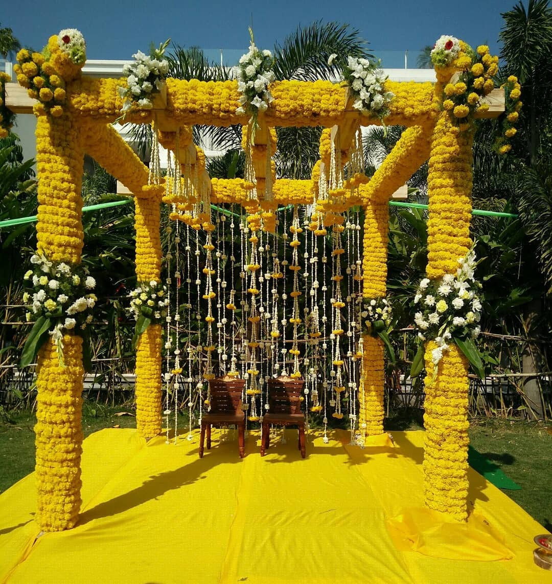 All yellow mandap design Decoration Ideas for Haldi Function  Simple & Stylish Decoration Ideas for Haldi Function
