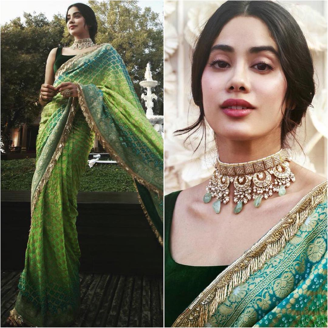Janhvi Kapoor in green saree: Hot n Sizzling Designer Sarees from Bollywood Celebs