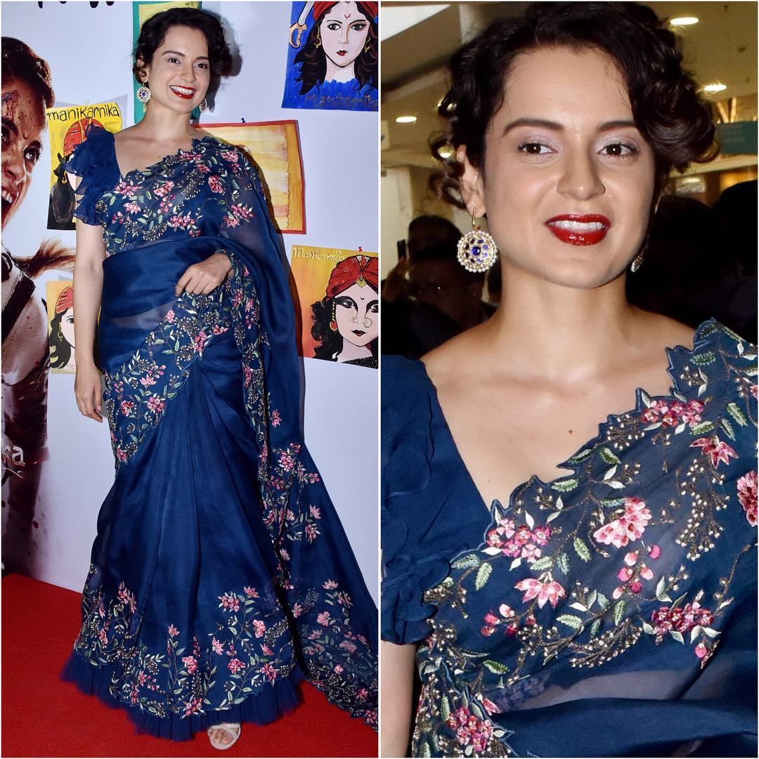 Kangana Ranaut in blue saree: Hot Looks of Bollywood Actresses in Sarees