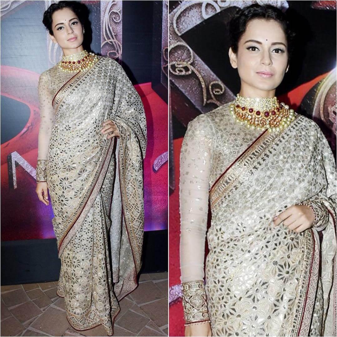 Kangana Ranaut in embellished silk saree Silk Saree Designs Inspired from Bollywood Divas