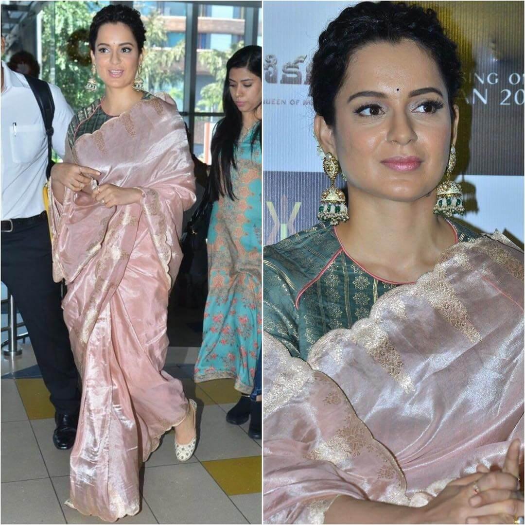Kangana Ranaut in rose pink saree Silk Saree Designs Inspired from Bollywood Divas