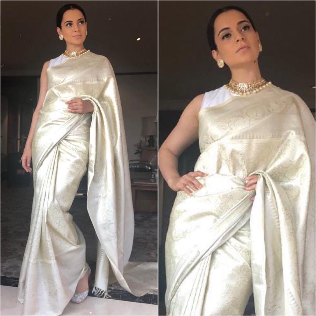 Kangana Ranaut in silver saree: Hot n Sizzling Designer Sarees from Bollywood Celebs
