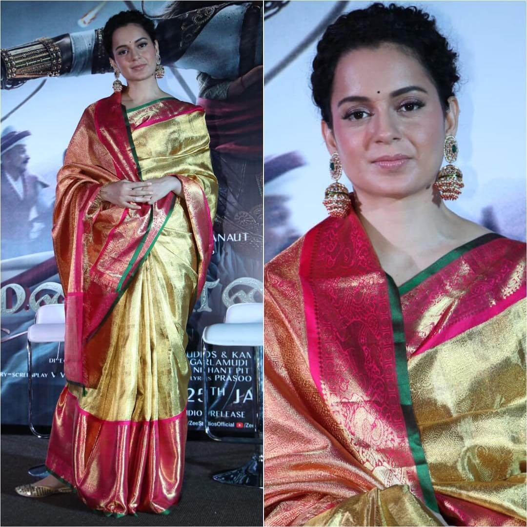 Kangana Ranaut red and gold silk saree Silk Saree Designs Inspired from Bollywood Divas