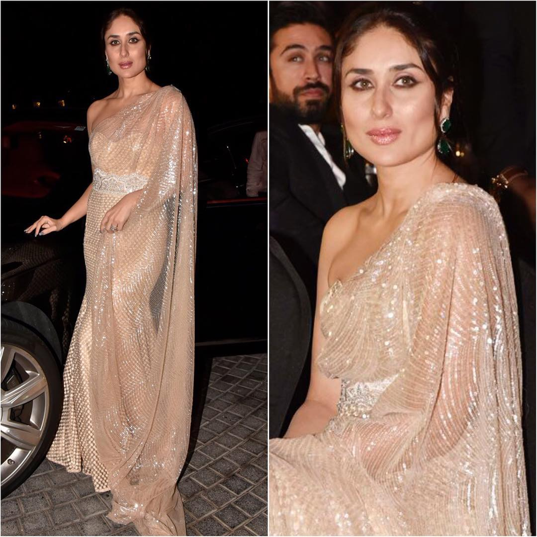 KareenaKapoor Khan in nude saree gown: Hot n Sizzling Designer Sarees from Bollywood Celebs