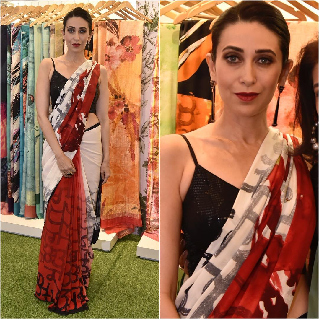 Karishma Kapoor in red and white saree: Hot Looks of Bollywood Actresses in Sarees