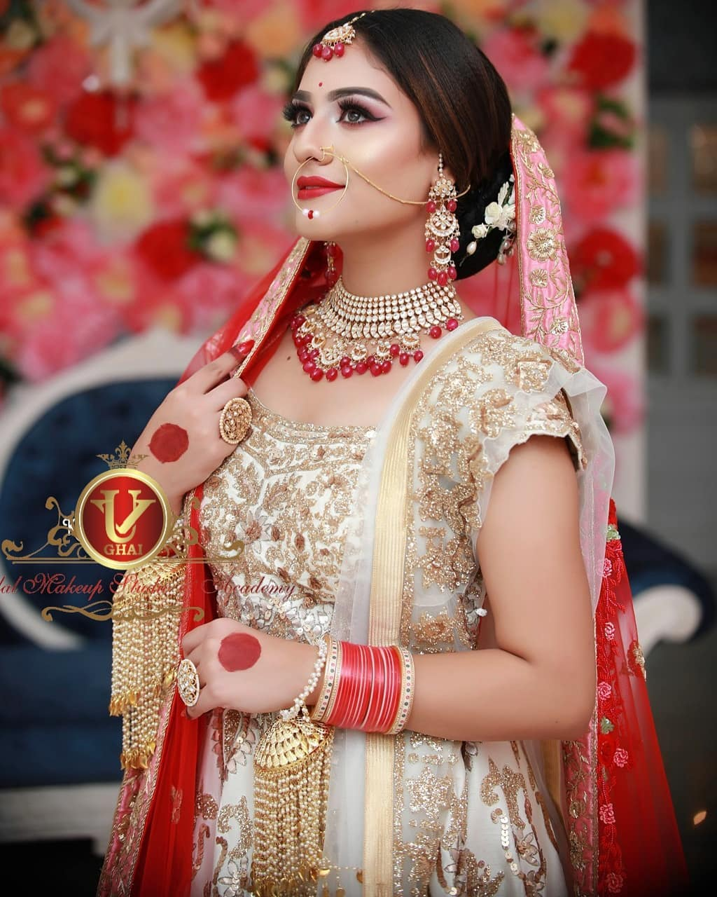 Classic red lips & natural beauty in bridal makeup with jewellery, stylish hairstyles free images download hd