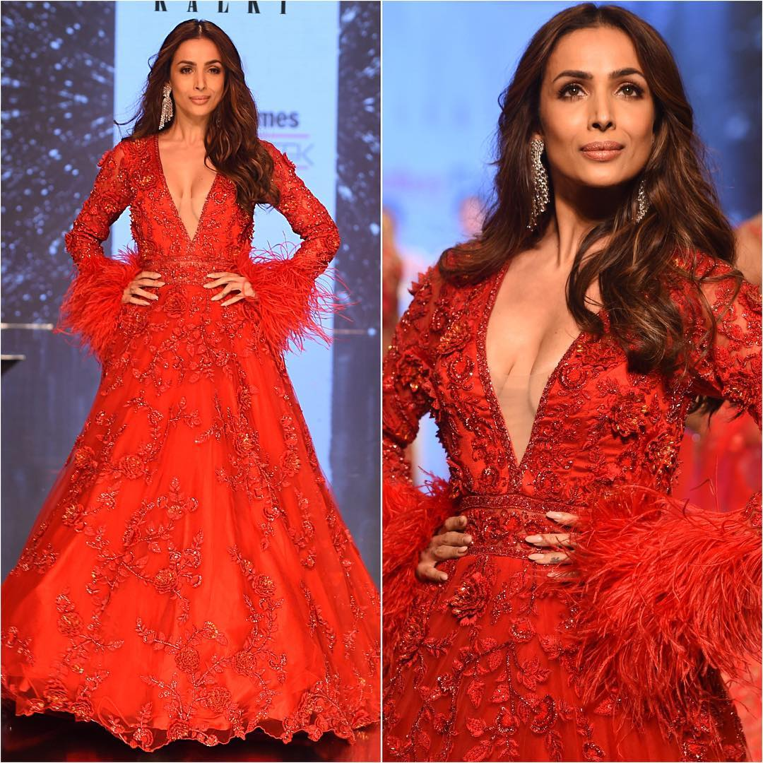 Malaika Arora's fiery red look: Long Evening Dresses in Bollywood Style