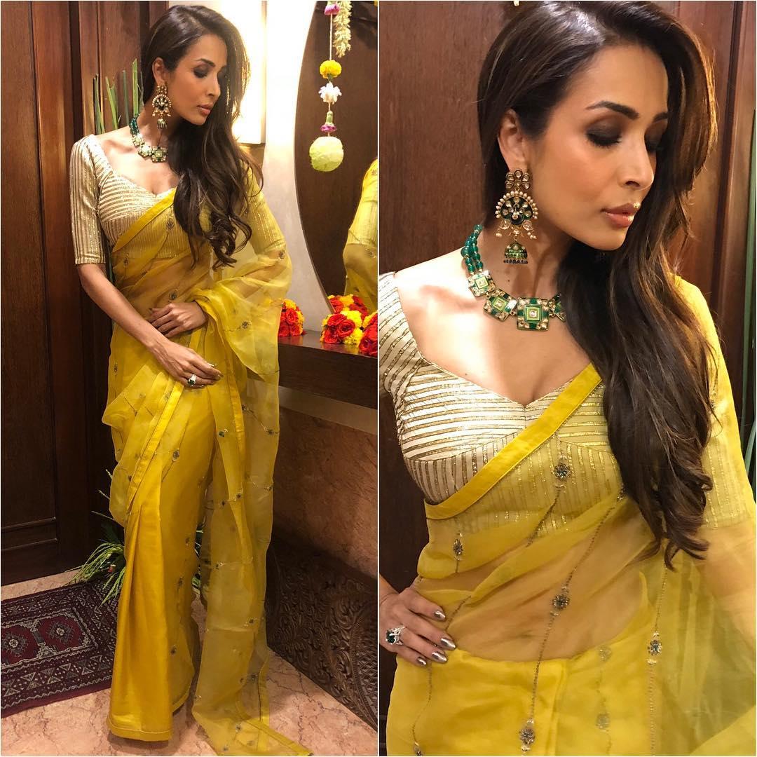 Malaika Arora in yellow saree: Hot Looks of Bollywood Actresses in Sarees