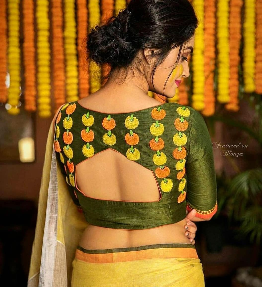 Marigold embroidered blouse design for Haldi ceremony