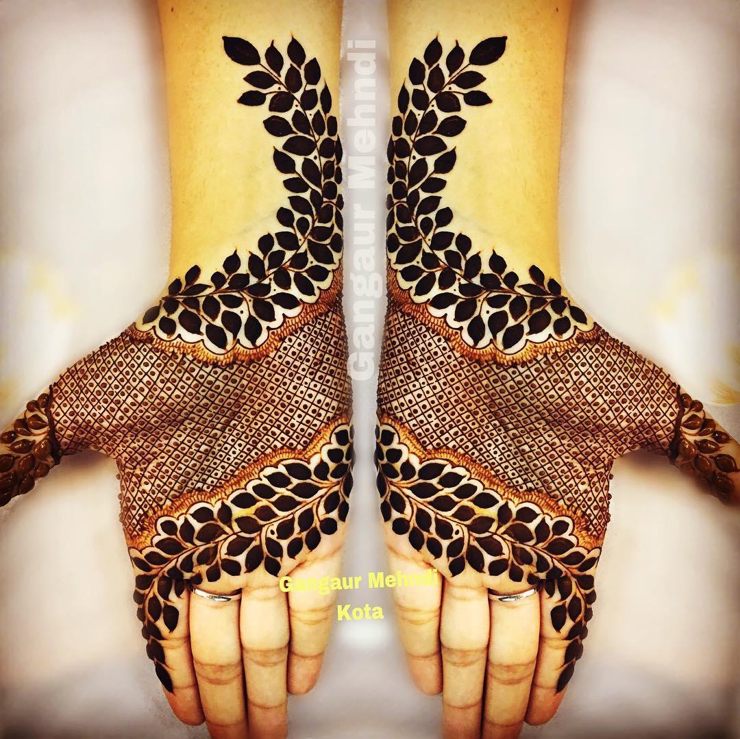 A pop of colour: Rajasthani full hand mehndi designs for Gangaur Festival