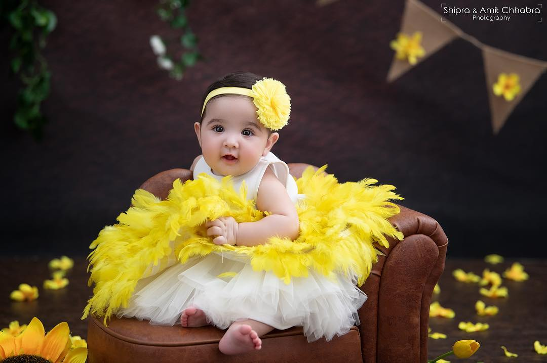 Little Girls Party Wear Yellow and White Dress Baby Girl Princess Dress Ideas for Memorable Photoshoot