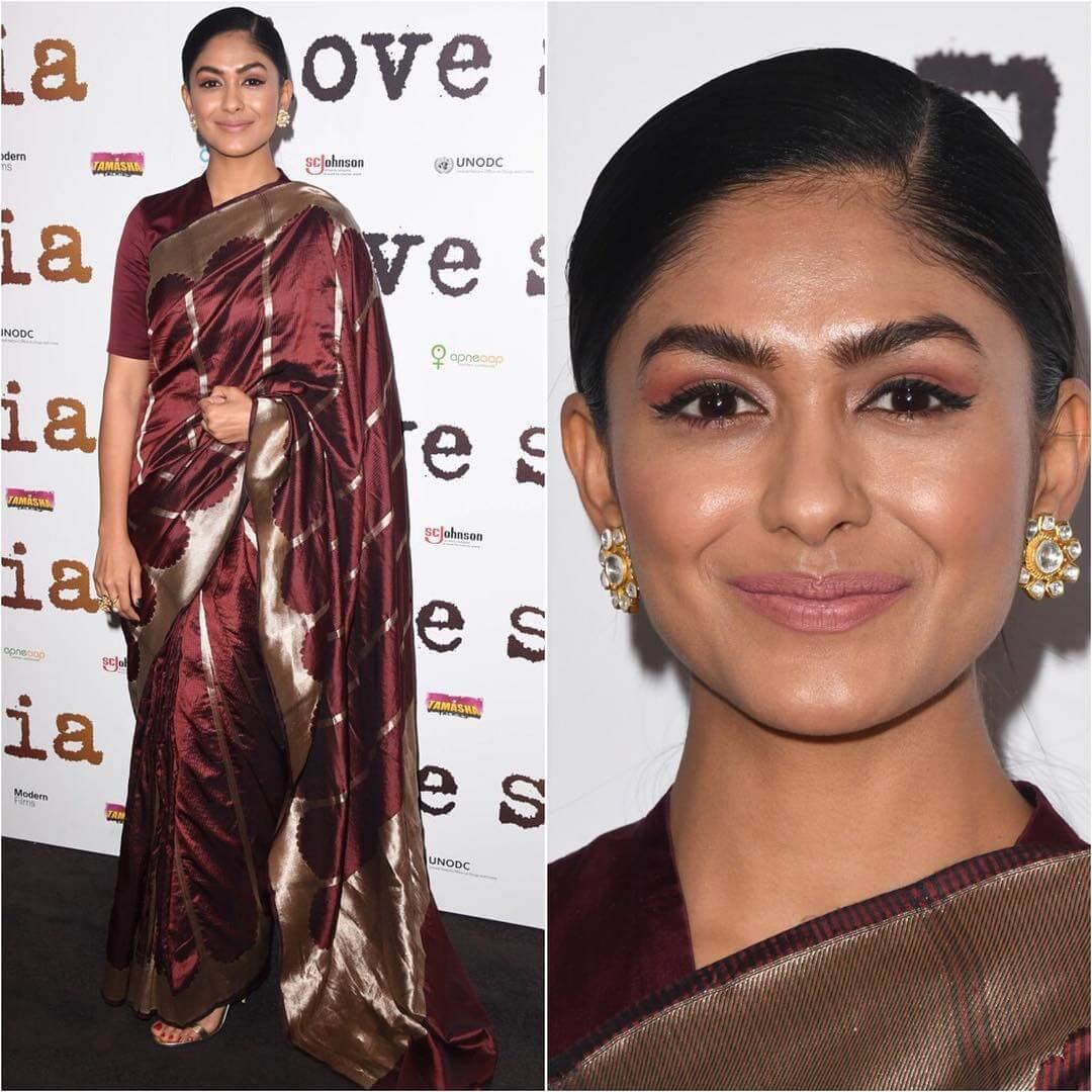 Mrunal Thakur in chocolate brown silk saree Silk Saree Designs Inspired from Bollywood Divas