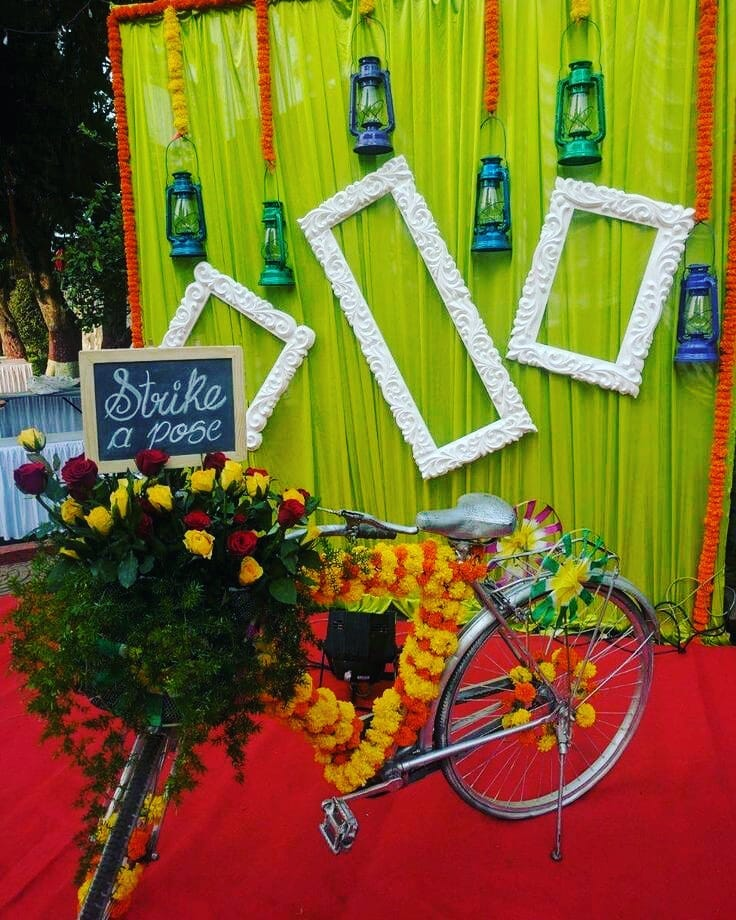 Photo Frame mandap design Decoration Ideas for Haldi Function Simple & Stylish Decoration Ideas for Haldi Function