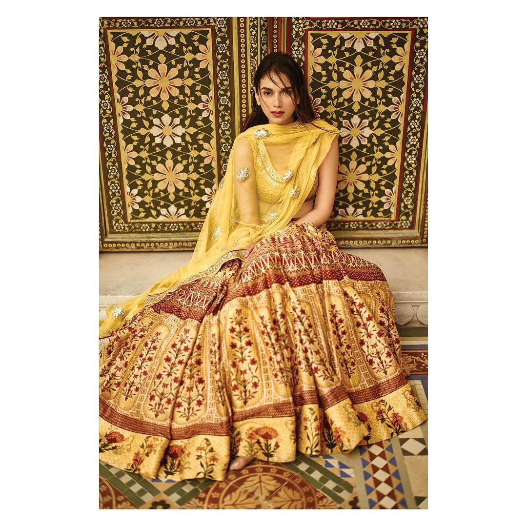 Anita Dongre Mustard yellow printed lehenga Mustard yellow printed leheSilk Saree Designs Inspired from Bollywood Divasnga: