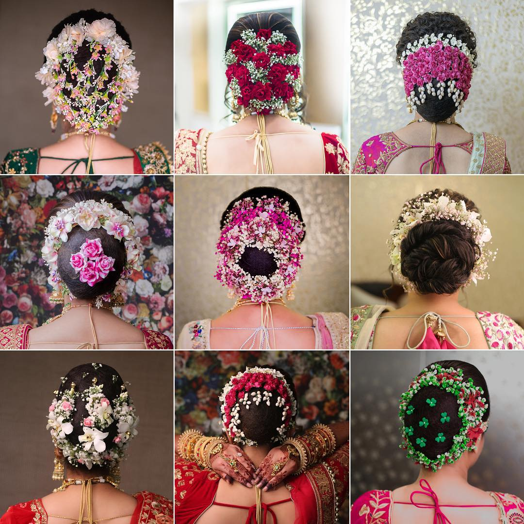 Various floral hairstyles: Bridal Bun Hairstyles with Flower Jewellery