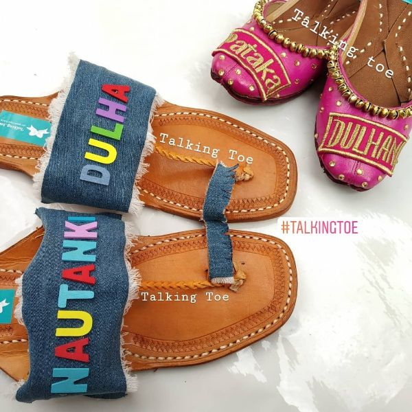 Denim chappals Trendy Bridal Jutti Designs with Personalised Touch