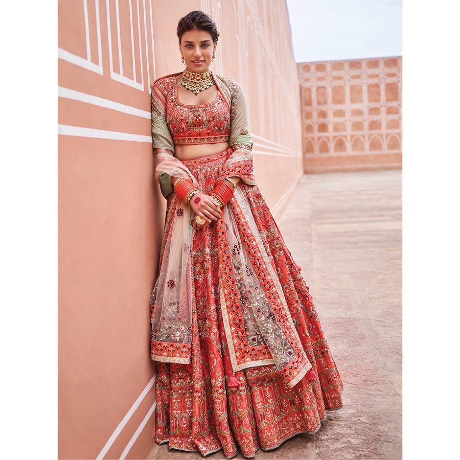Anita Dongre Orange bloom lehenga Orange bloom: Silk Saree Designs Inspired from Bollywood Divas