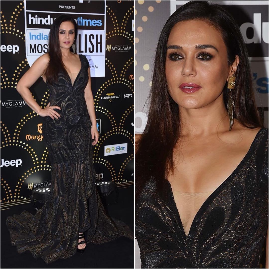 Preity Zinta as black beauty: Long Evening Dresses in Bollywood Style