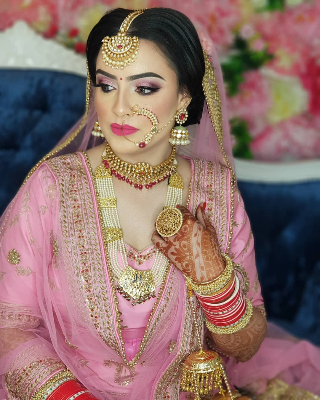 Punjabi natural beauty in bridal makeup with jewellery, stylish hairstyles free images download hd