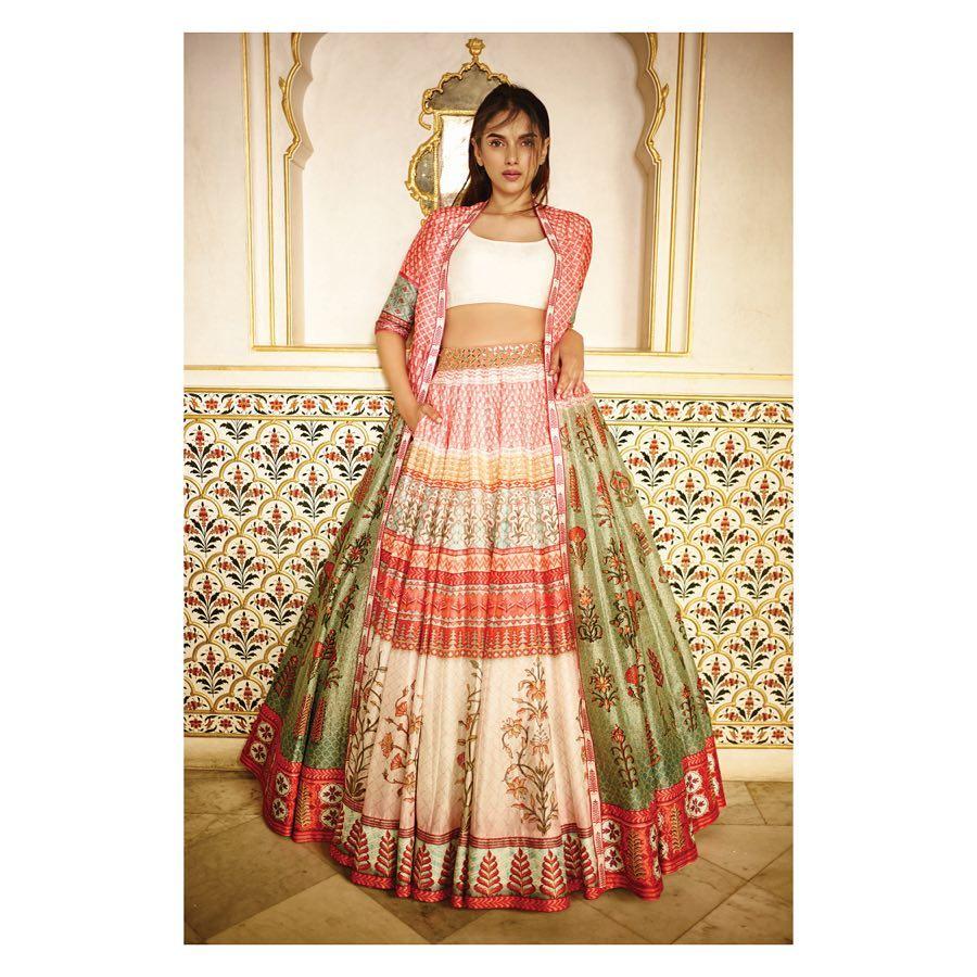 Red and White printed lehenga: yellow printed lehenga Silk Saree Designs Inspired from Bollywood Divas