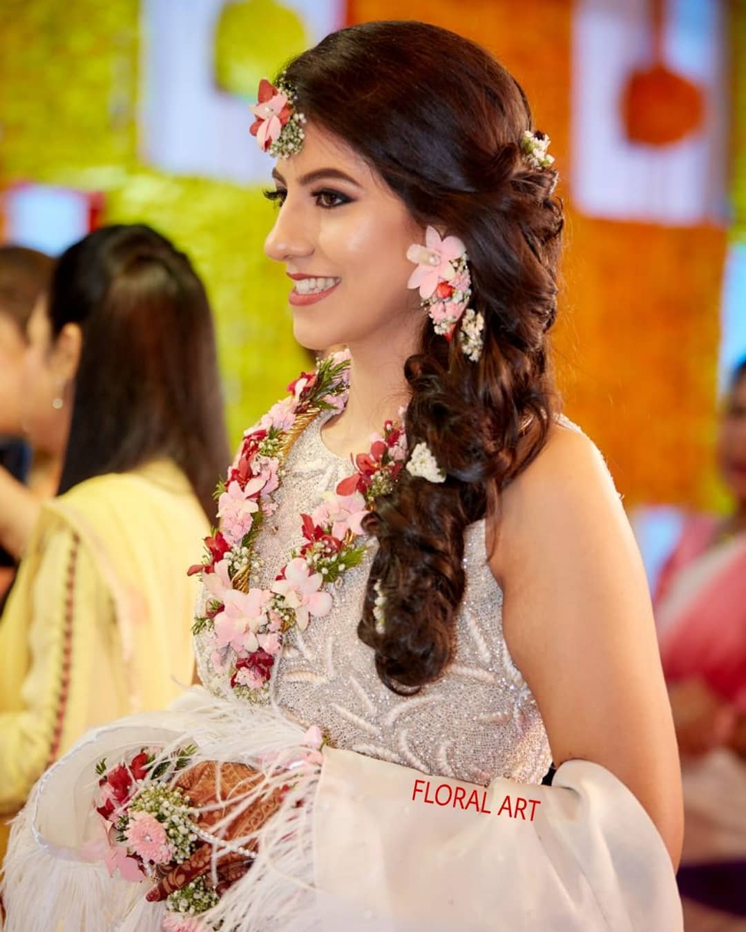 Red and pink floral jewellery:  Haldi Ceremony Floral Jewellery for Your Wedding