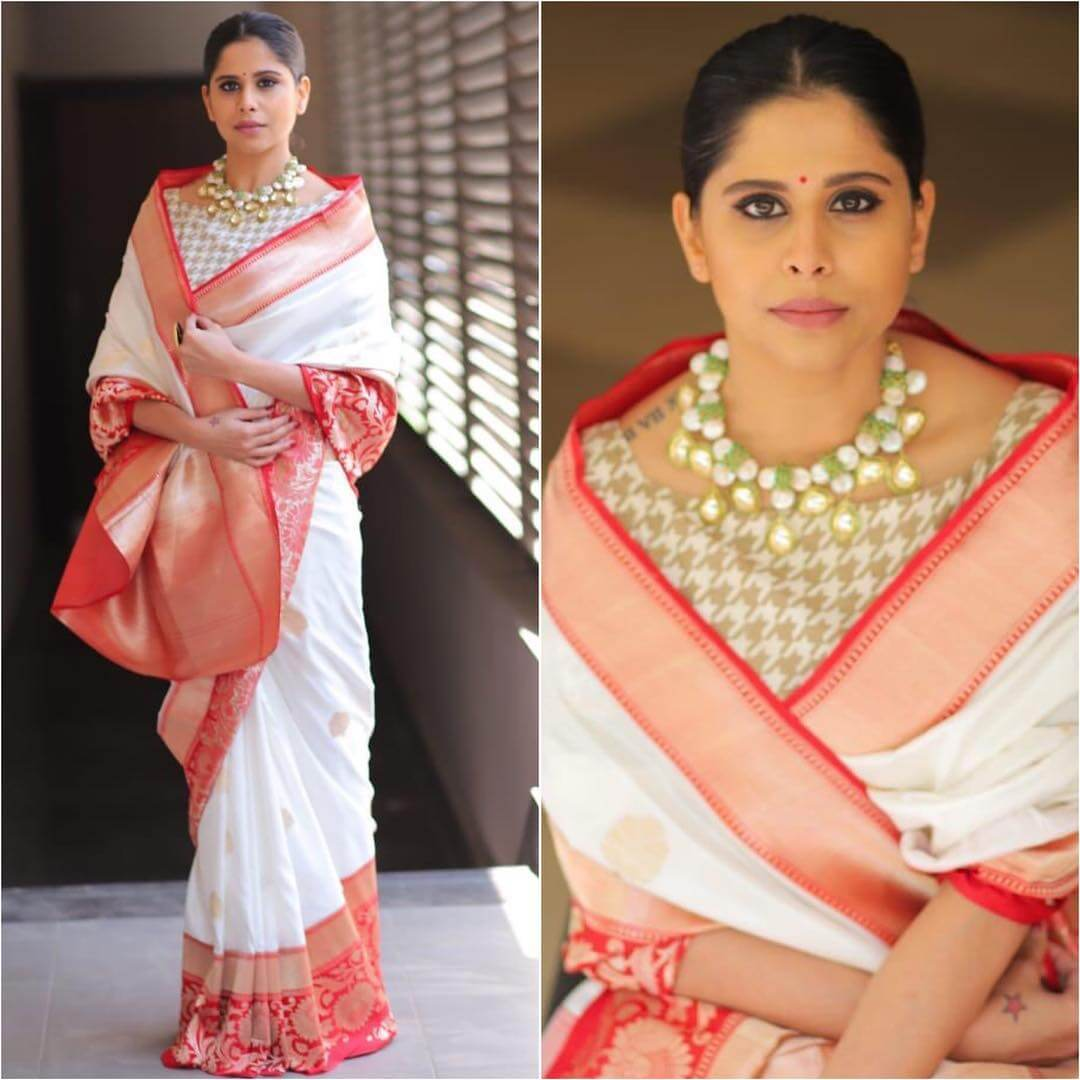aie Tamhankar in classic red and white silk saree Silk Saree Designs Inspired from Bollywood Divas