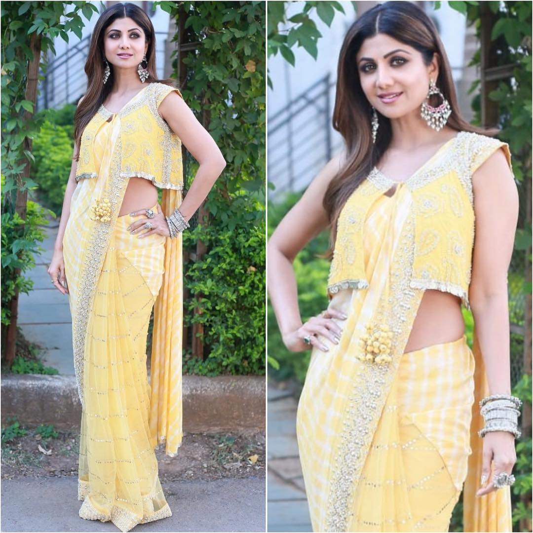 Shilpa Shetty in yellow saree: Hot n Sizzling Designer Sarees from Bollywood Celebs