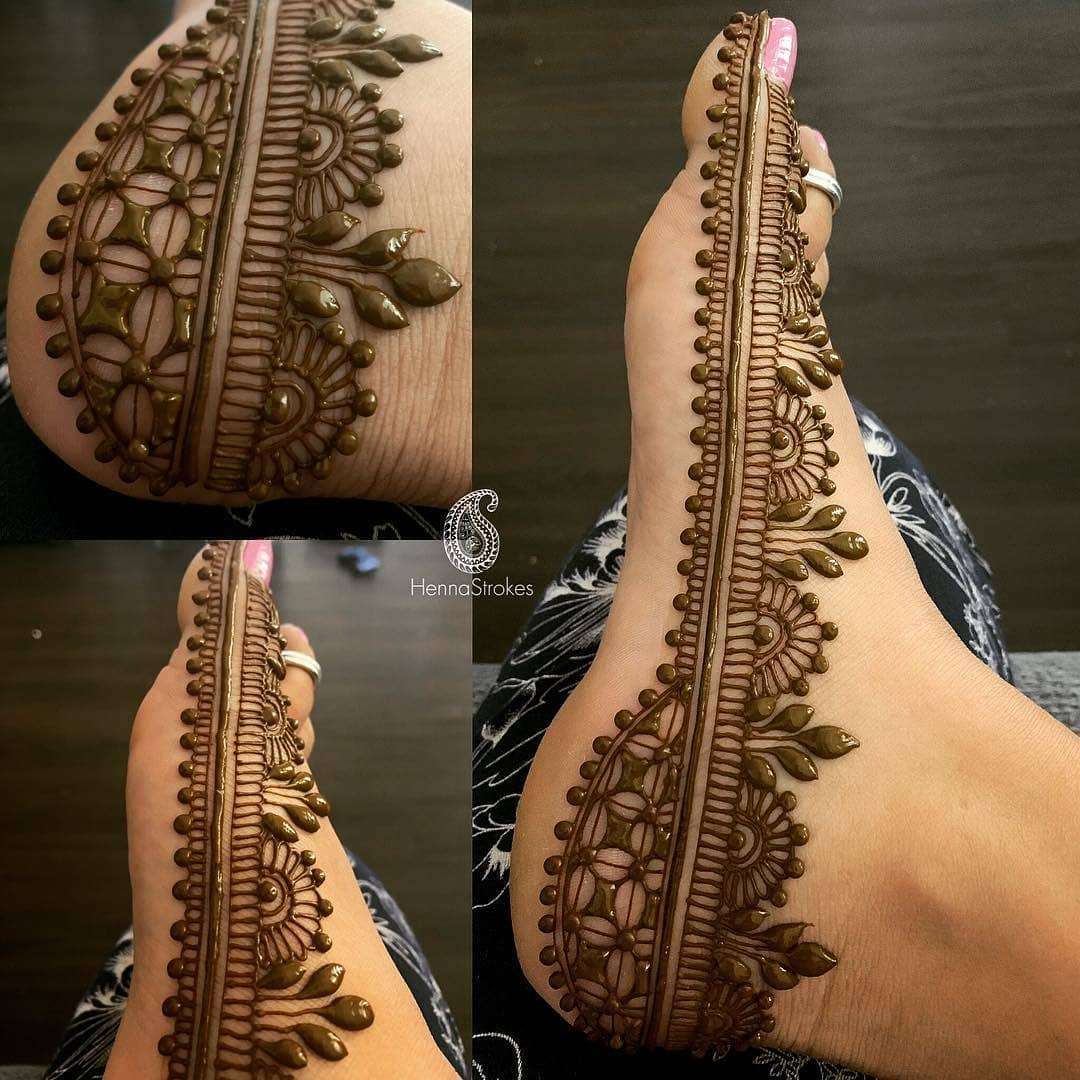 Side foot mehendi design: Modern Henna Mehndi Designs For Legs