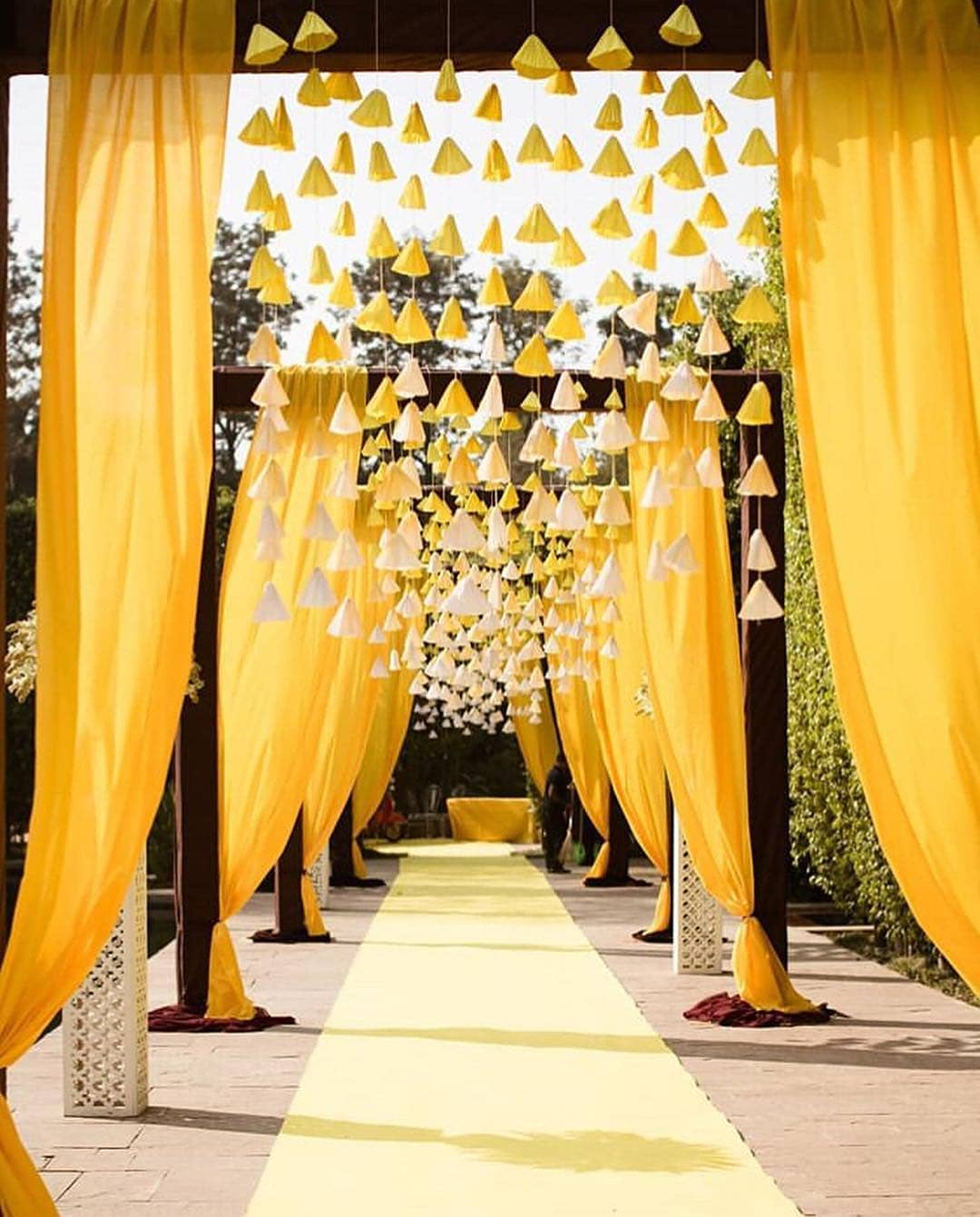 Yellow Tassels mandap design Decoration Ideas for Haldi Function  Simple & Stylish Decoration Ideas for Haldi Function