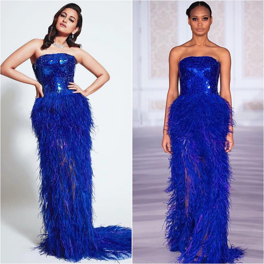 Sonakshi Sinha's bold in blue look: Long Evening Dresses in Bollywood Style