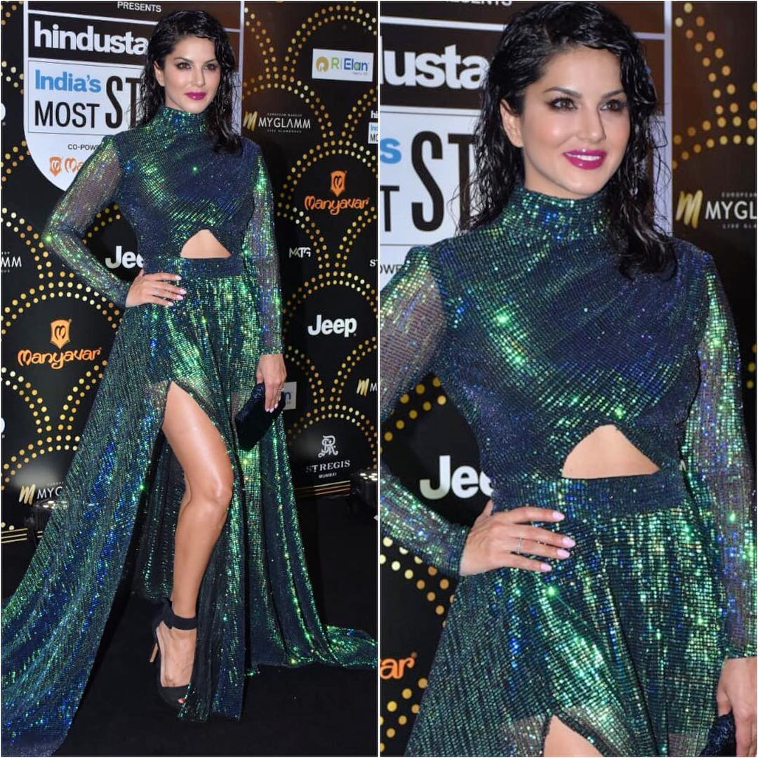 Sunny Leone's green dazzle: Long Evening Dresses in Bollywood Style