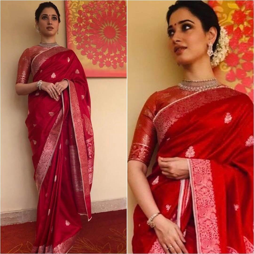 Tamanna Bhatia in red silk saree Silk Saree Designs Inspired from Bollywood Divas