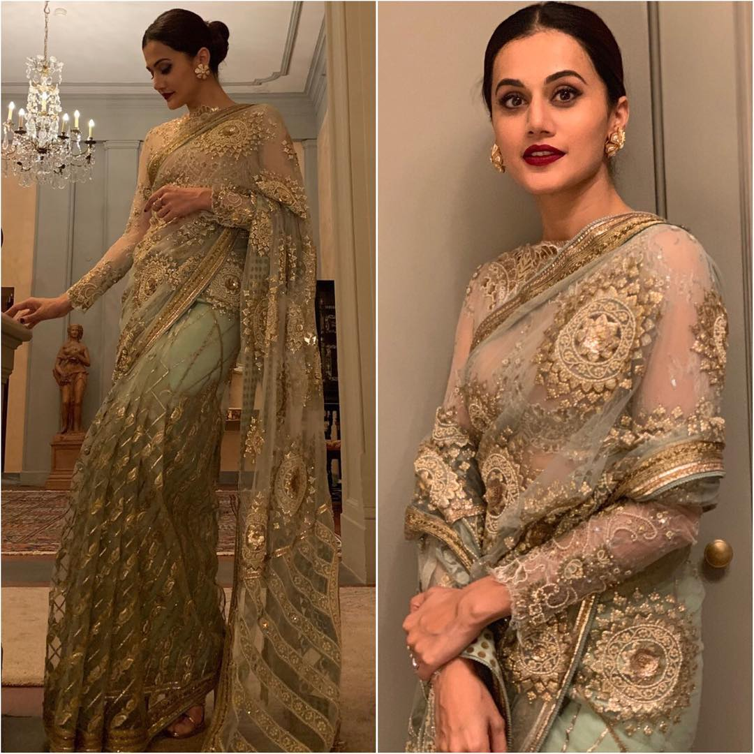 Tapsee Pannu in mint green saree: Hot n Sizzling Designer Sarees from Bollywood Celebs