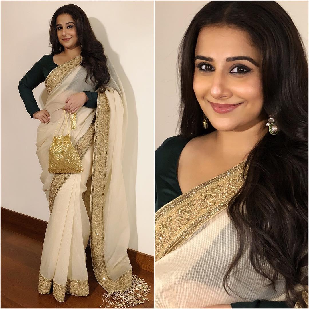 Vidya Balan in ivory and gold saree: Hot n Sizzling Designer Sarees from Bollywood Celebs