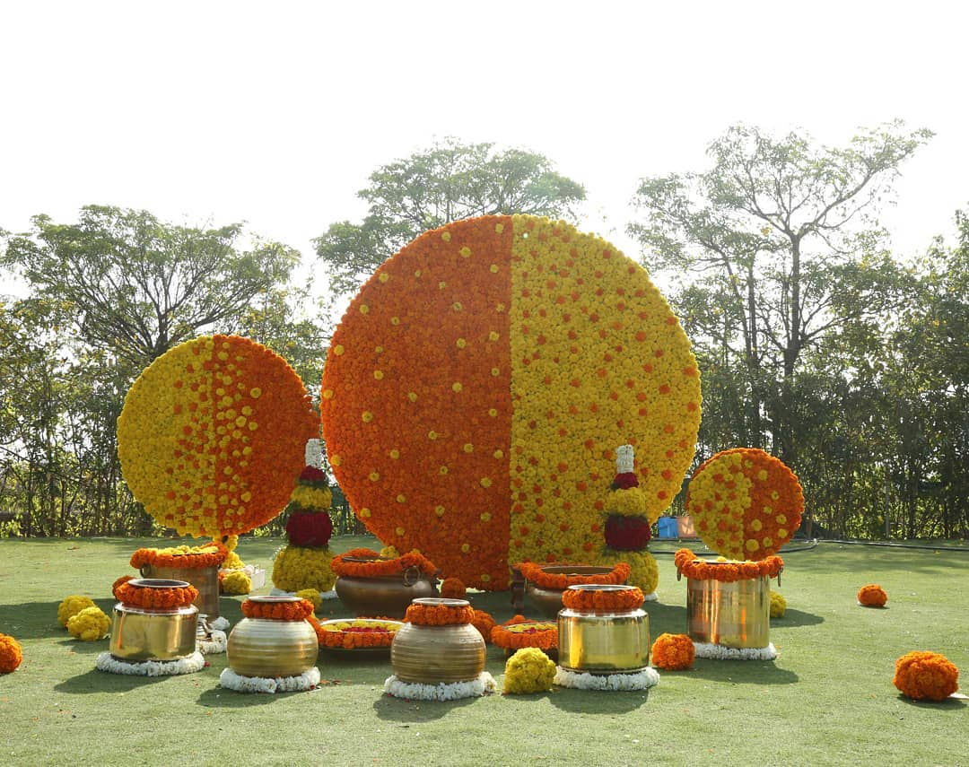 Circular mandap design Decoration Ideas for Haldi Function  Simple & Stylish Decoration Ideas for Haldi Function