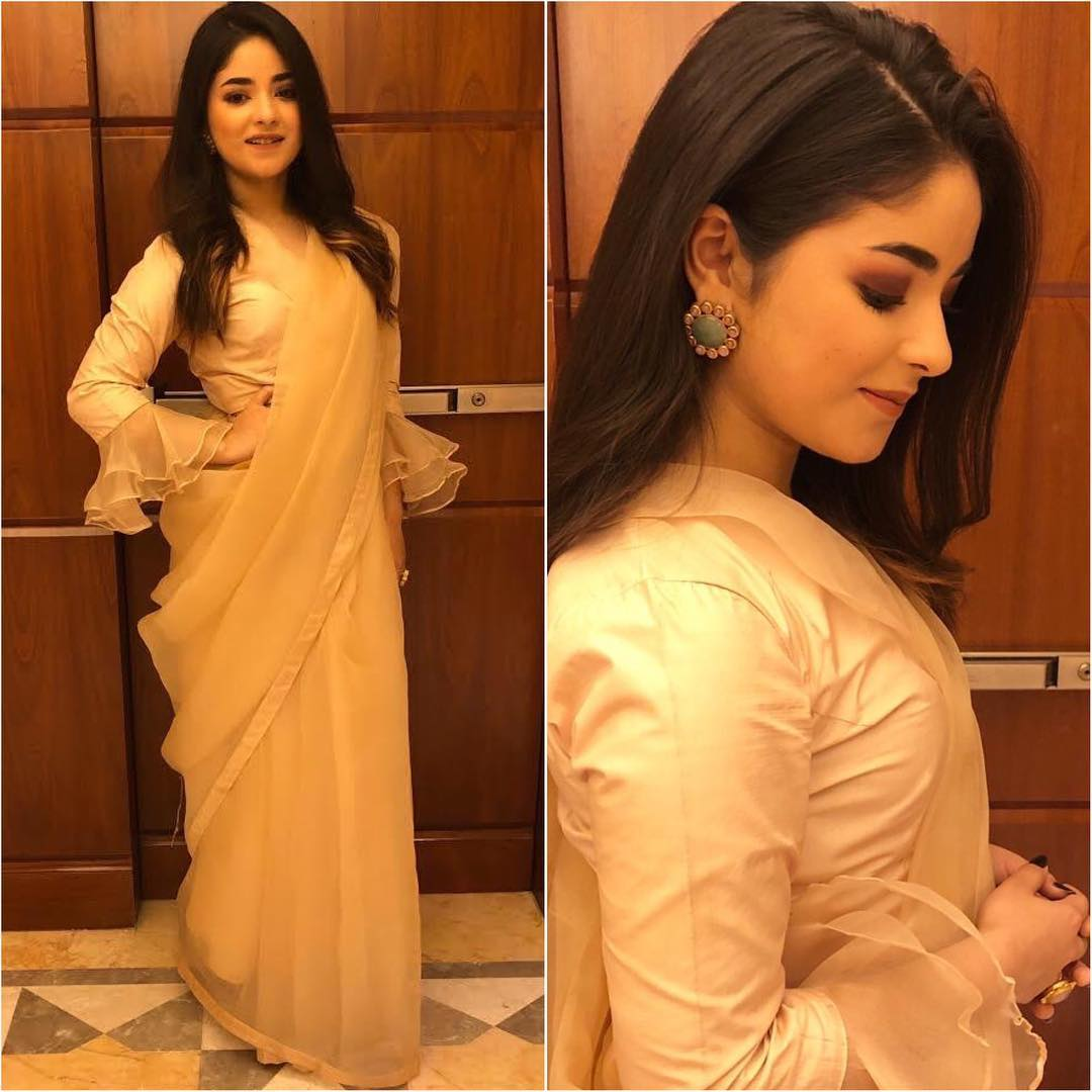 Zaira Wasim in beige saree: Hot Looks of Bollywood Actresses in Sarees