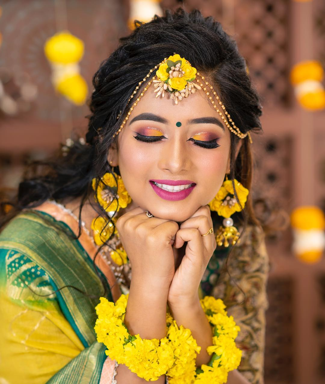 Yellow and pink makeup look: Indian Bridal Makeup Look in Celeb Style