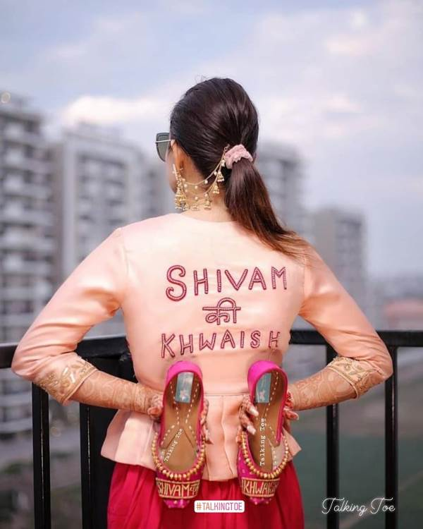Name printed juttis Trendy Bridal Jutti Designs with Personalised Touch