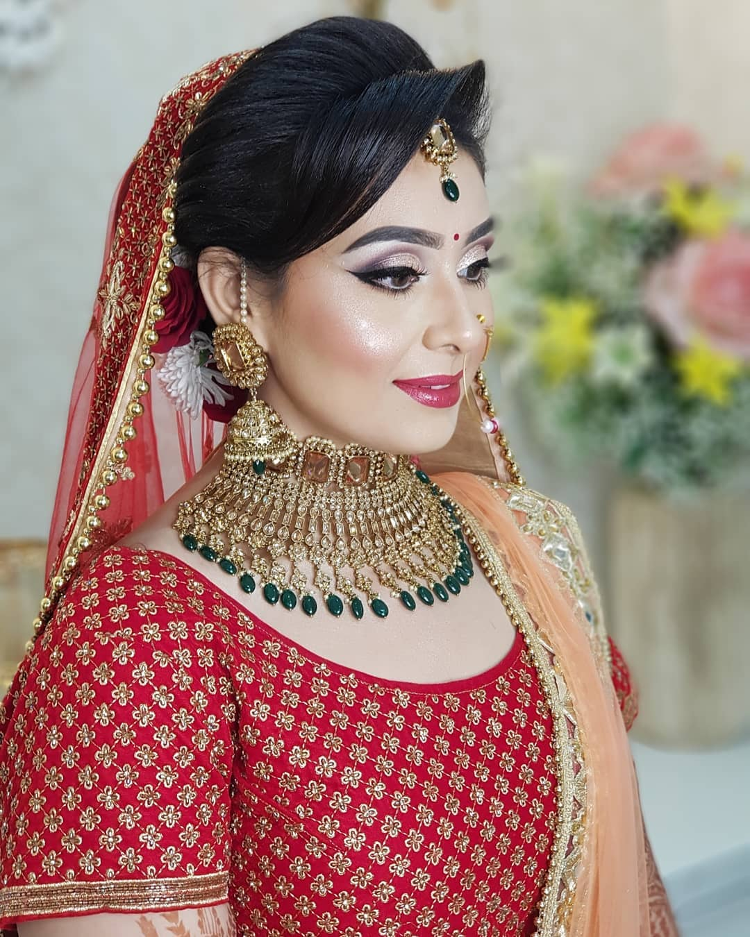 glowy makeup look & natural beauty in bridal makeup with jewellery, stylish hairstyles free images download hd